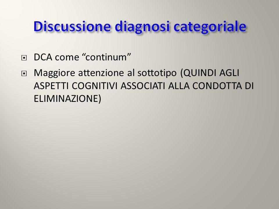 DCA come continum Maggiore attenzione al sottotipo (QUINDI AGLI ASPETTI COGNITIVI ASSOCIATI ALLA CONDOTTA DI ELIMINAZIONE)