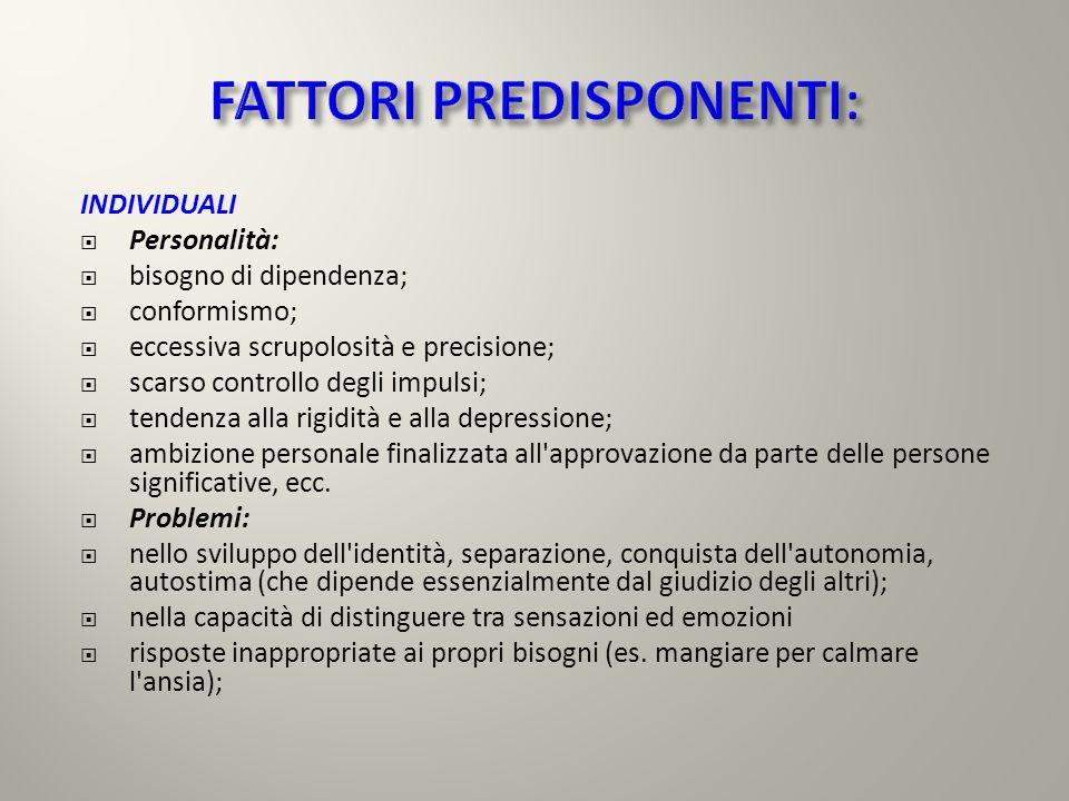 INDIVIDUALI Personalità: bisogno di dipendenza; conformismo; eccessiva scrupolosità e precisione; scarso controllo degli impulsi; tendenza alla rigidi