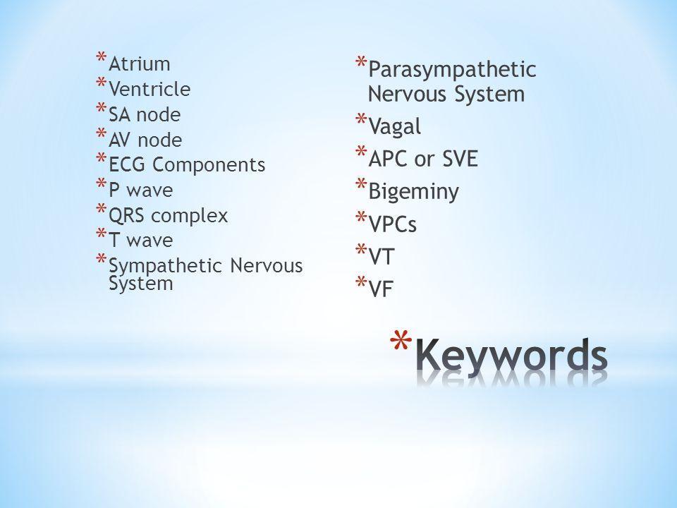 * Atrium * Ventricle * SA node * AV node * ECG Components * P wave * QRS complex * T wave * Sympathetic Nervous System * Parasympathetic Nervous Syste