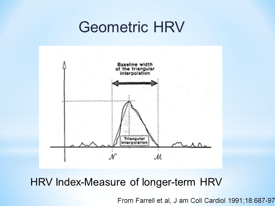 Geometric HRV HRV Index-Measure of longer-term HRV From Farrell et al, J am Coll Cardiol 1991;18:687-97