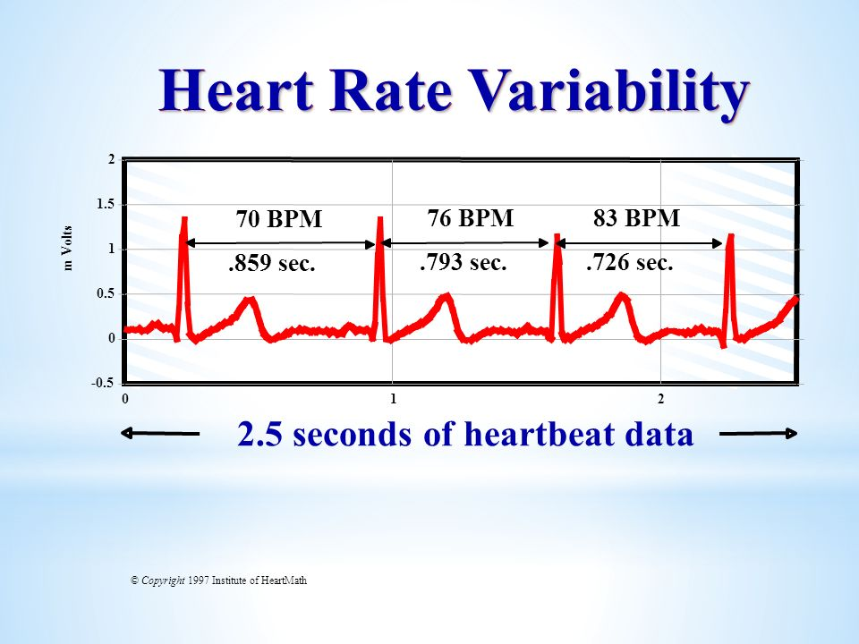 012 -0.5 0 0.5 1 1.5 2 m Volts Heart Rate Variability 2.5 seconds of heartbeat data.859 sec..793 sec..726 sec. 70 BPM 76 BPM83 BPM © Copyright 1997 In
