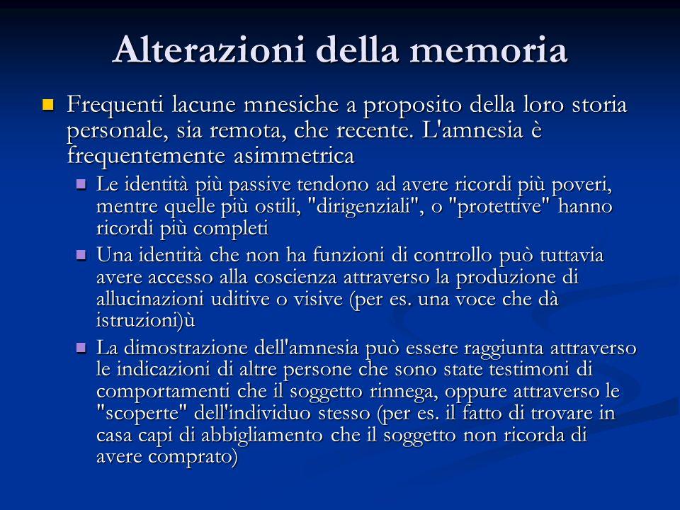 Alterazioni della memoria Frequenti lacune mnesiche a proposito della loro storia personale, sia remota, che recente. L'amnesia è frequentemente asimm