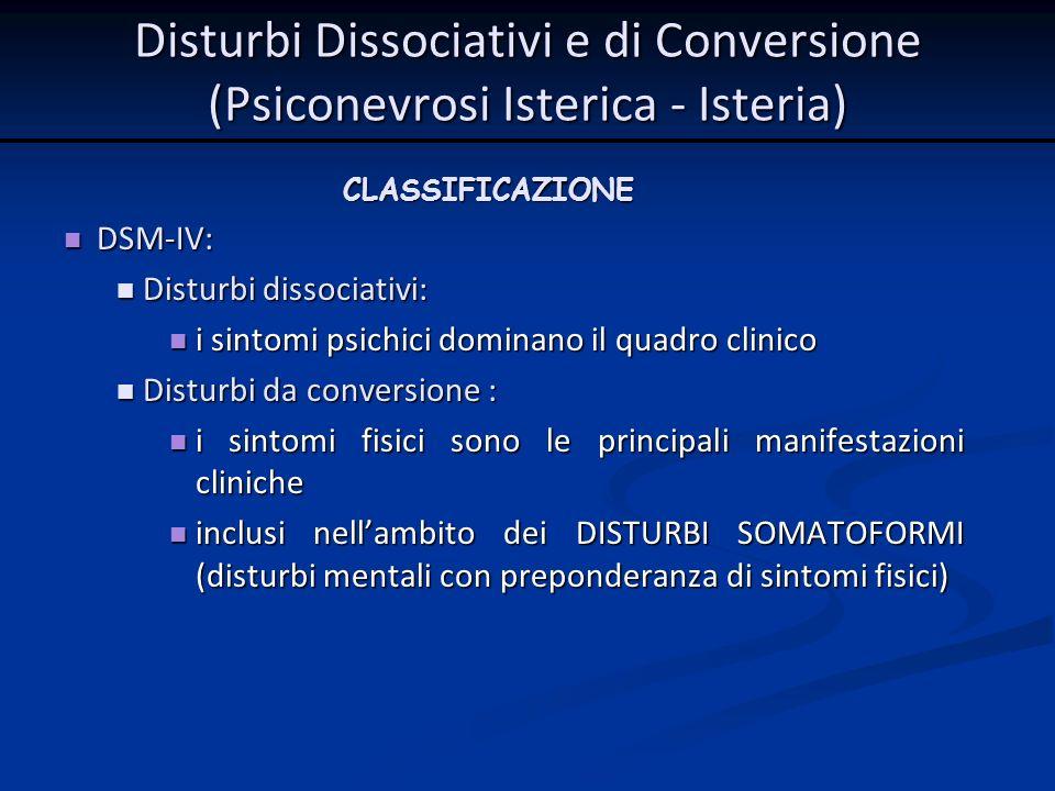 CLASSIFICAZIONE DSM-IV: DSM-IV: Disturbi dissociativi: Disturbi dissociativi: i sintomi psichici dominano il quadro clinico i sintomi psichici dominan