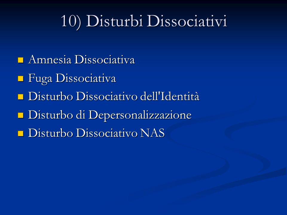 10) Disturbi Dissociativi Amnesia Dissociativa Amnesia Dissociativa Fuga Dissociativa Fuga Dissociativa Disturbo Dissociativo dell'Identità Disturbo D