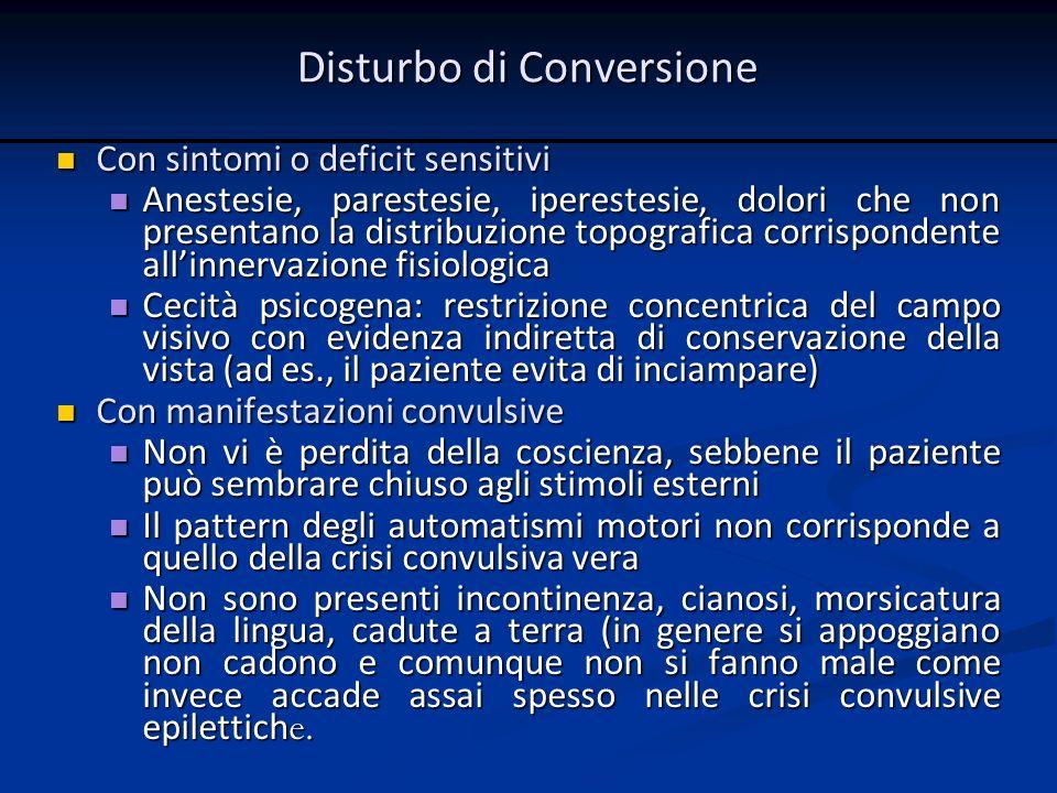 Con sintomi o deficit sensitivi Con sintomi o deficit sensitivi Anestesie, parestesie, iperestesie, dolori che non presentano la distribuzione topogra
