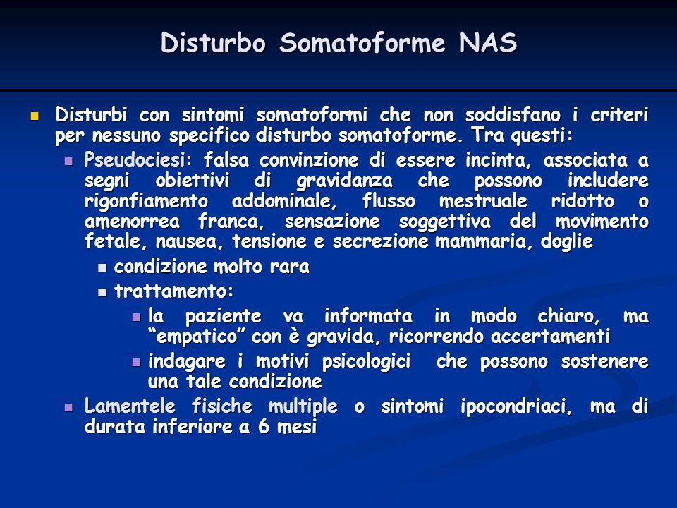 Disturbi con sintomi somatoformi che non soddisfano i criteri per nessuno specifico disturbo somatoforme. Tra questi: Disturbi con sintomi somatoformi