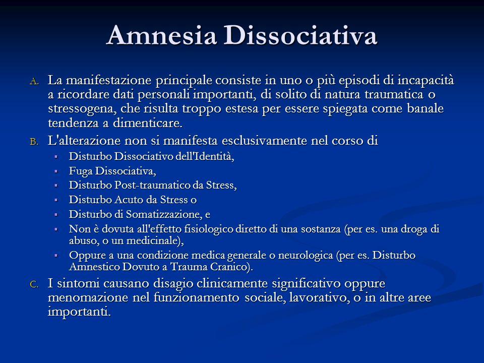 Amnesia Dissociativa A. La manifestazione principale consiste in uno o più episodi di incapacità a ricordare dati personali importanti, di solito di n