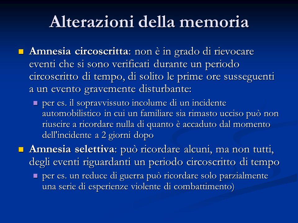 Alterazioni della memoria Amnesia circoscritta: non è in grado di rievocare eventi che si sono verificati durante un periodo circoscritto di tempo, di