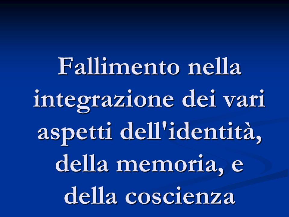Fallimento nella integrazione dei vari aspetti dell'identità, della memoria, e della coscienza