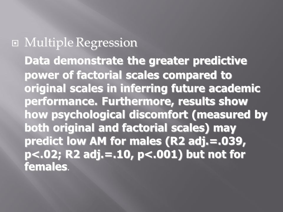 Multiple Regression Multiple Regression Data demonstrate the greater predictive power of factorial scales compared to original scales in inferring fut