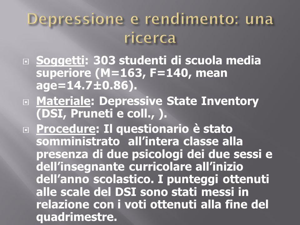 Soggetti: 303 studenti di scuola media superiore (M=163, F=140, mean age=14.7±0.86). Materiale: Depressive State Inventory (DSI, Pruneti e coll., ). P