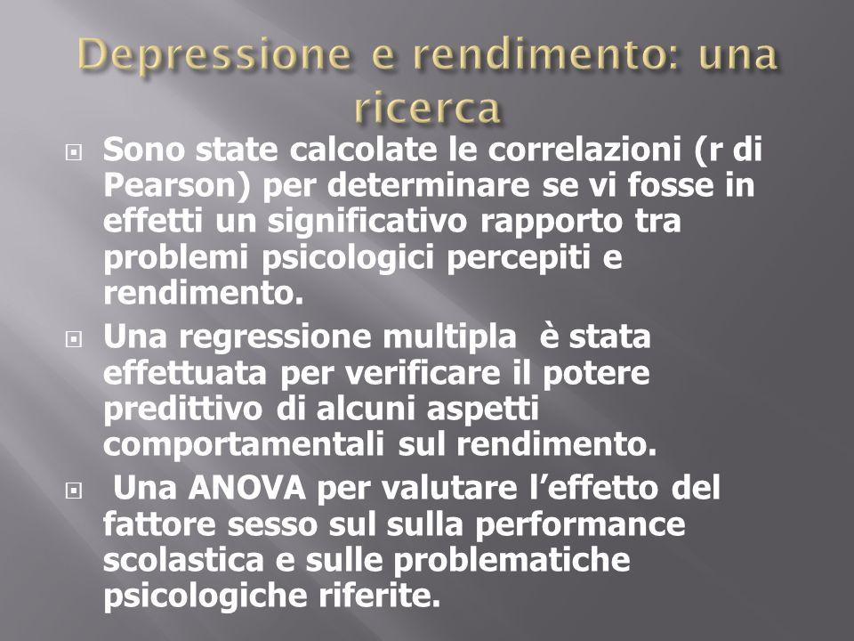 Sono state calcolate le correlazioni (r di Pearson) per determinare se vi fosse in effetti un significativo rapporto tra problemi psicologici percepit