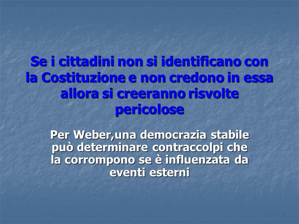Se i cittadini non si identificano con la Costituzione e non credono in essa allora si creeranno risvolte pericolose Per Weber,una democrazia stabile