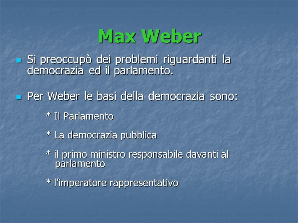 Max Weber Si preoccupò dei problemi riguardanti la democrazia ed il parlamento. Si preoccupò dei problemi riguardanti la democrazia ed il parlamento.