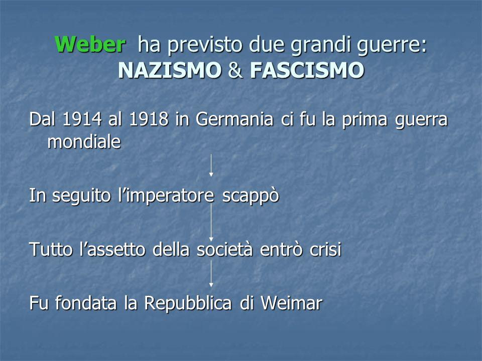 Weber h h h ha previsto due grandi guerre: NAZISMO & FASCISMO Dal 1914 al 1918 in Germania ci fu la prima guerra mondiale In seguito limperatore scapp