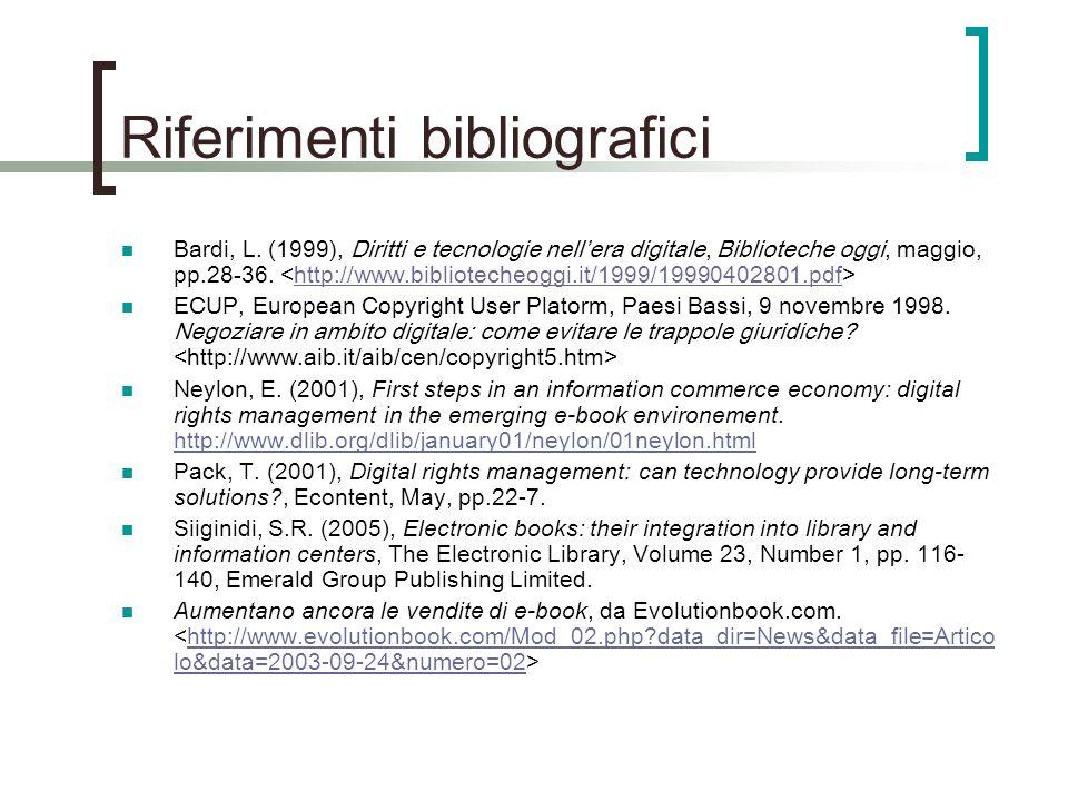 Riferimenti bibliografici Bardi, L.