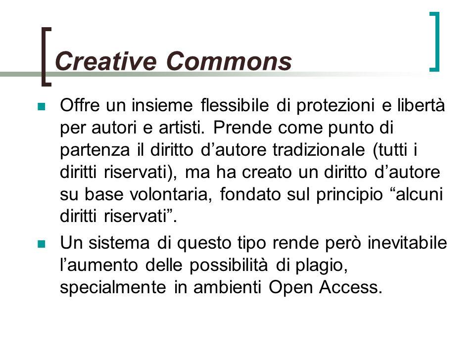 Creative Commons Offre un insieme flessibile di protezioni e libertà per autori e artisti.