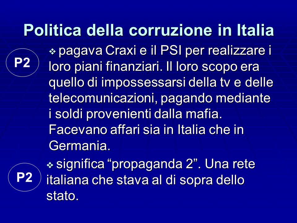 Politica della corruzione in Italia significa propaganda 2. Una rete italiana che stava al di sopra dello stato. significa propaganda 2. Una rete ital