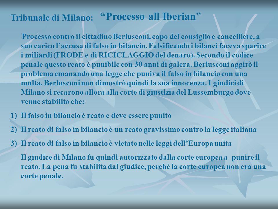 Tribunale di Milano: Processo all Iberian Processo contro il cittadino Berlusconi, capo del consiglio e cancelliere, a suo carico laccusa di falso in bilancio.
