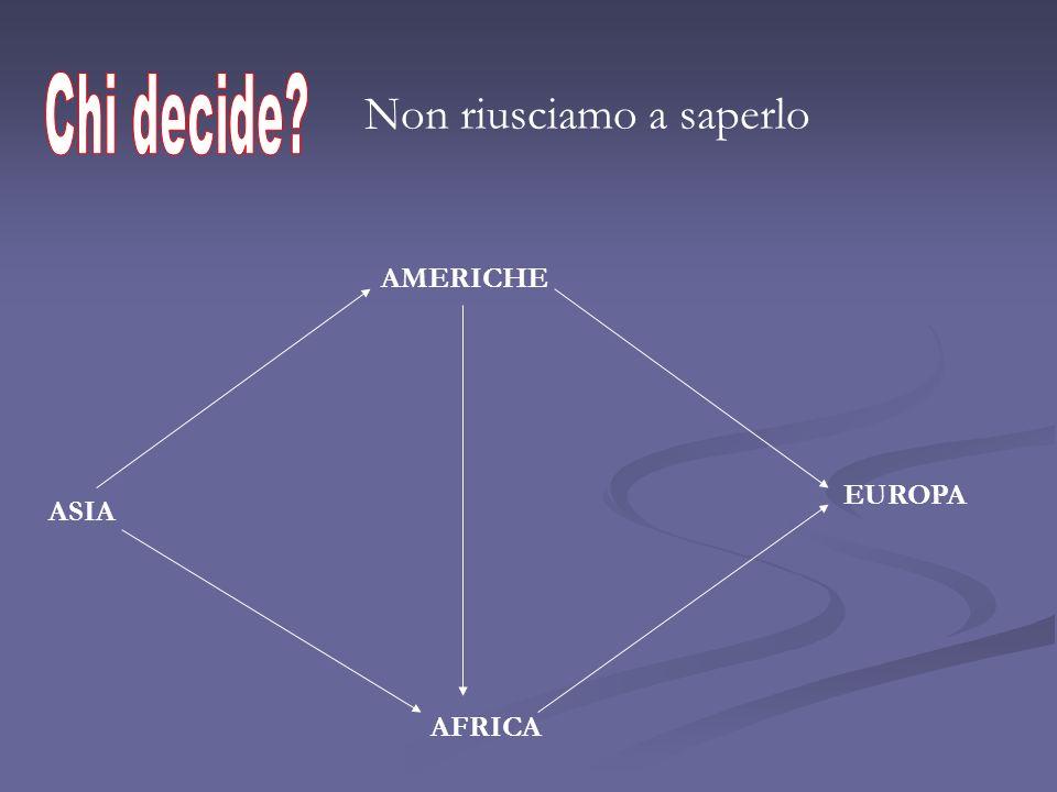 Non riusciamo a saperlo AMERICHE EUROPA AFRICA ASIA