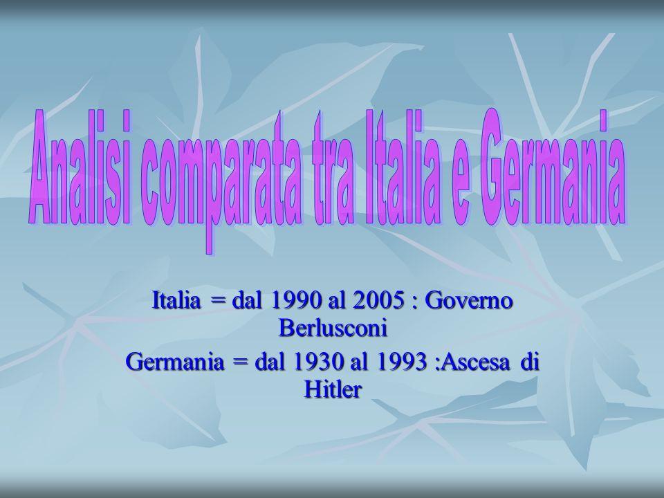 Italia = dal 1990 al 2005 : Governo Berlusconi Germania = dal 1930 al 1993 :Ascesa di Hitler