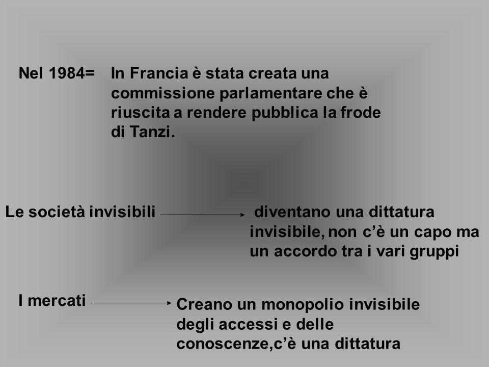 Nel 1984=In Francia è stata creata una commissione parlamentare che è riuscita a rendere pubblica la frode di Tanzi. Le società invisibili diventano u