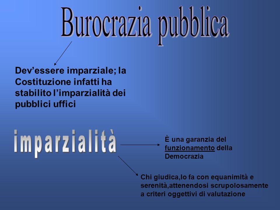 Devessere imparziale; la Costituzione infatti ha stabilito limparzialità dei pubblici uffici È una garanzia del funzionamento della Democrazia Chi giudica,lo fa con equanimità e serenità,attenendosi scrupolosamente a criteri oggettivi di valutazione