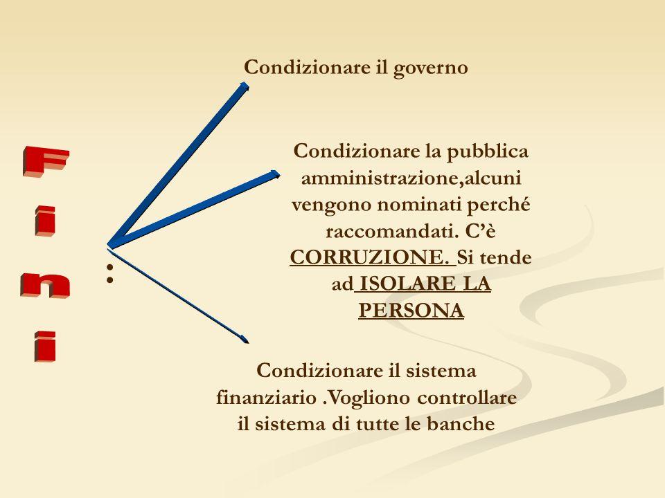 : Condizionare il governo Condizionare la pubblica amministrazione,alcuni vengono nominati perché raccomandati.
