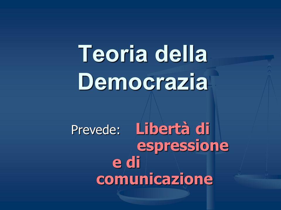 Teoria della Democrazia Prevede: Libertà di espressione e di comunicazione