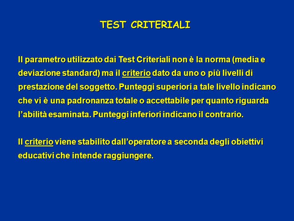 TEST CRITERIALI Il parametro utilizzato dai Test Criteriali non è la norma (media e deviazione standard) ma il criterio dato da uno o più livelli di p