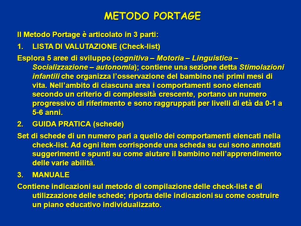 METODO PORTAGE Il Metodo Portage è articolato in 3 parti: 1.LISTA DI VALUTAZIONE (Check-list) Esplora 5 aree di sviluppo (cognitiva – Motoria – Lingui