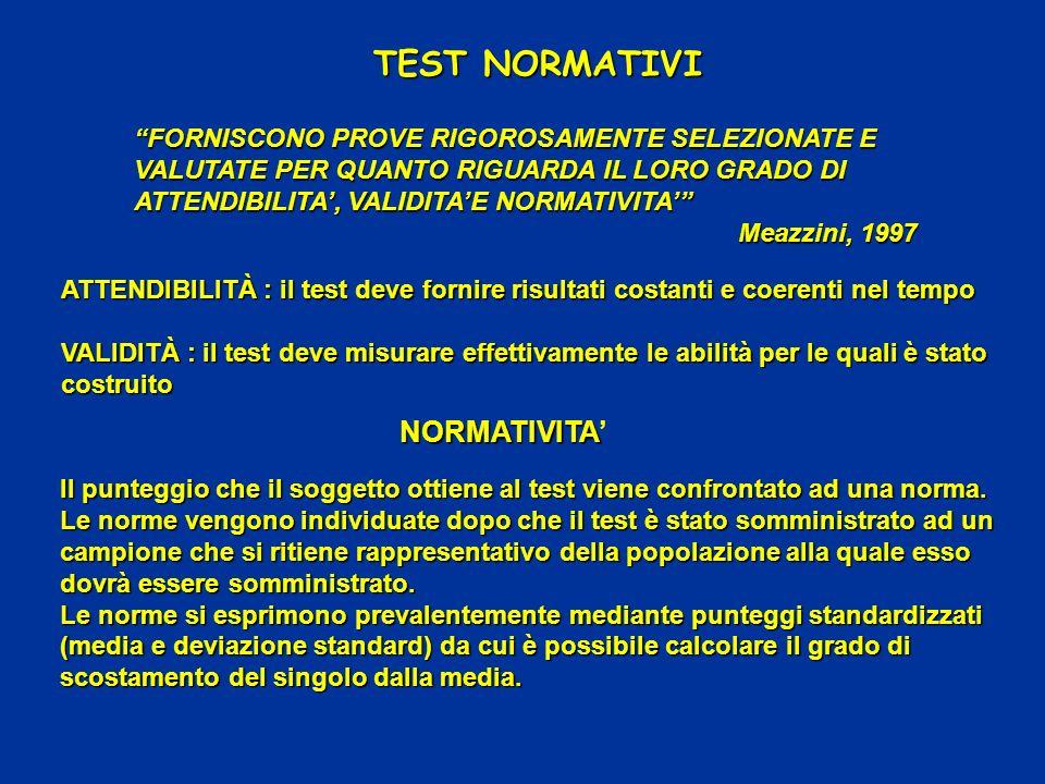 ATTENDIBILITÀ : il test deve fornire risultati costanti e coerenti nel tempo VALIDITÀ : il test deve misurare effettivamente le abilità per le quali è