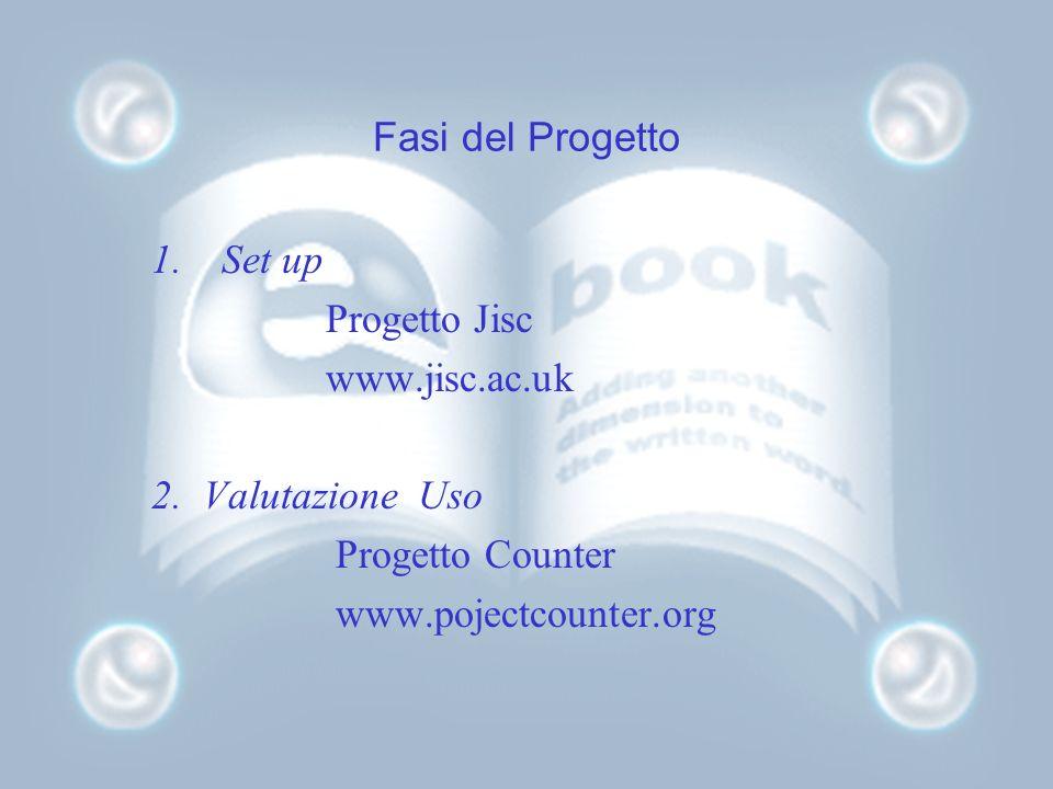 Fasi del Progetto 1.Set up Progetto Jisc www.jisc.ac.uk 2. Valutazione Uso Progetto Counter www.pojectcounter.org