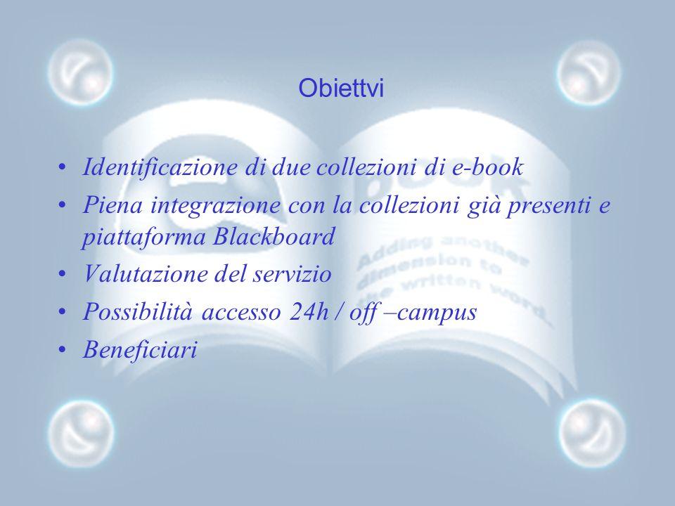 Obiettvi Identificazione di due collezioni di e-book Piena integrazione con la collezioni già presenti e piattaforma Blackboard Valutazione del serviz