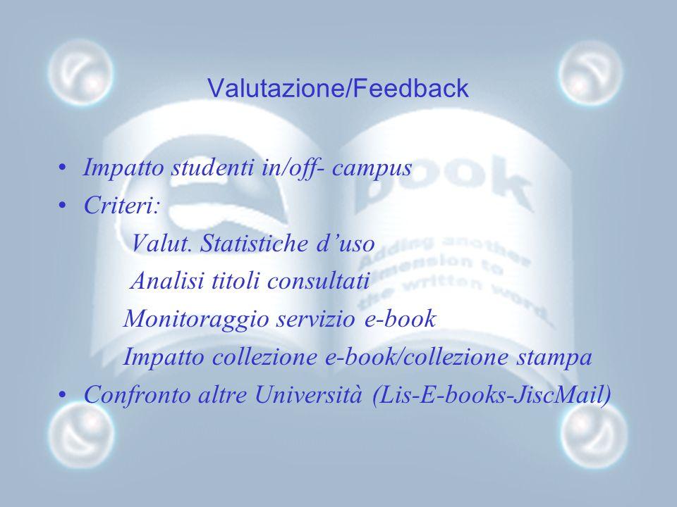 Valutazione/Feedback Impatto studenti in/off- campus Criteri: Valut. Statistiche duso Analisi titoli consultati Monitoraggio servizio e-book Impatto c