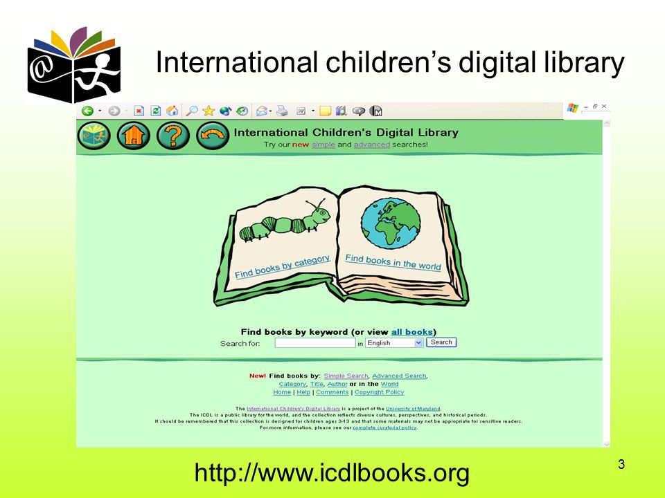 3 International childrens digital library http://www.icdlbooks.org