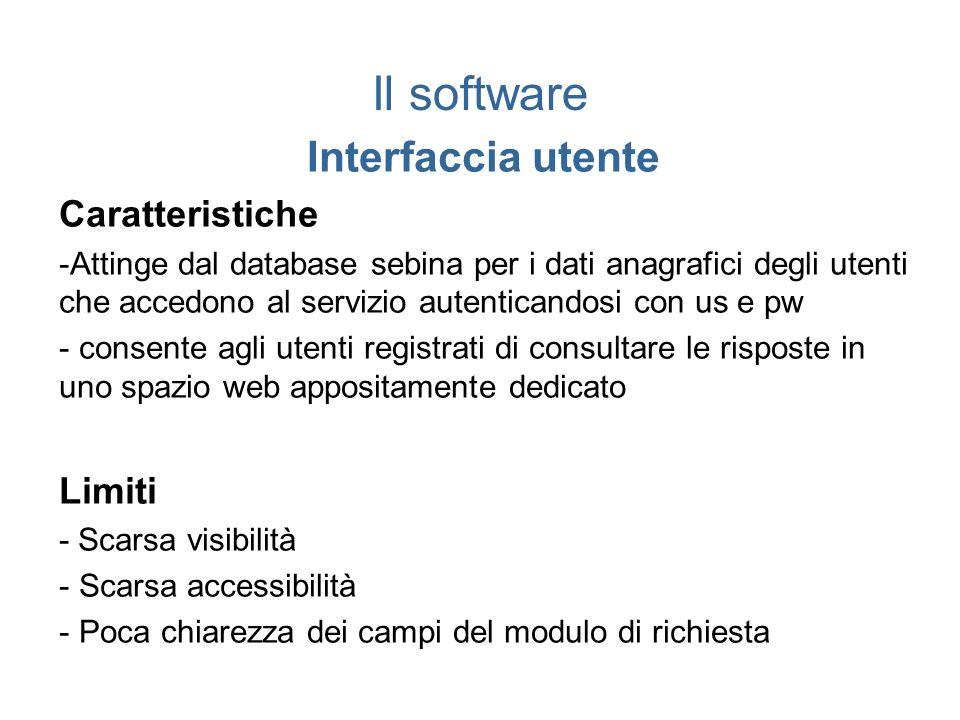 Il software Interfaccia utente Caratteristiche -Attinge dal database sebina per i dati anagrafici degli utenti che accedono al servizio autenticandosi