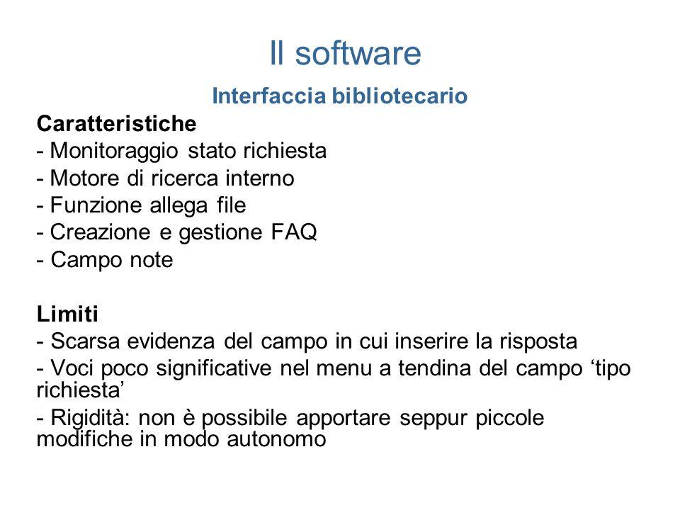 Il software Interfaccia bibliotecario Caratteristiche - Monitoraggio stato richiesta - Motore di ricerca interno - Funzione allega file - Creazione e