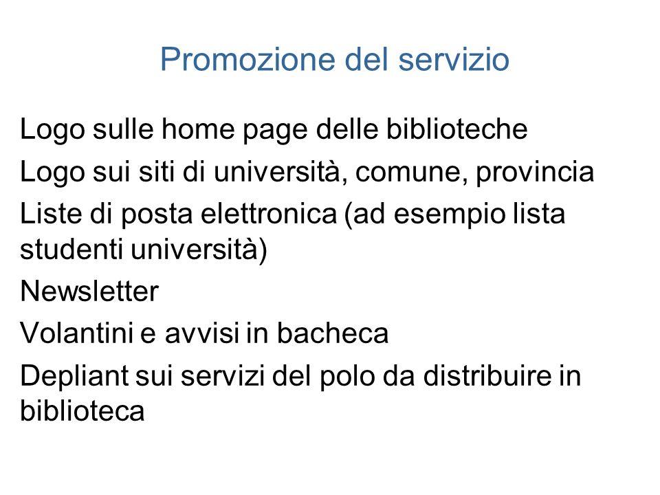 Promozione del servizio Logo sulle home page delle biblioteche Logo sui siti di università, comune, provincia Liste di posta elettronica (ad esempio l