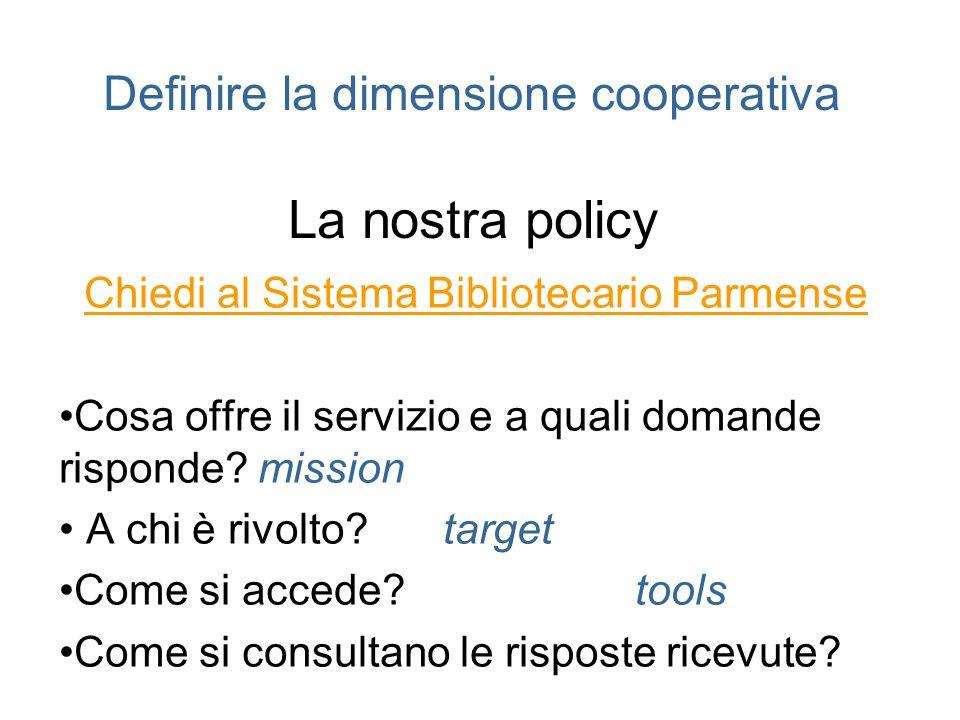Definire la dimensione cooperativa La nostra policy Chiedi al Sistema Bibliotecario Parmense Cosa offre il servizio e a quali domande risponde? missio