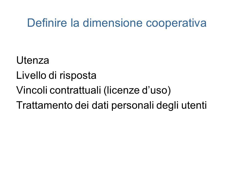 Definire la dimensione cooperativa Utenza Livello di risposta Vincoli contrattuali (licenze duso) Trattamento dei dati personali degli utenti