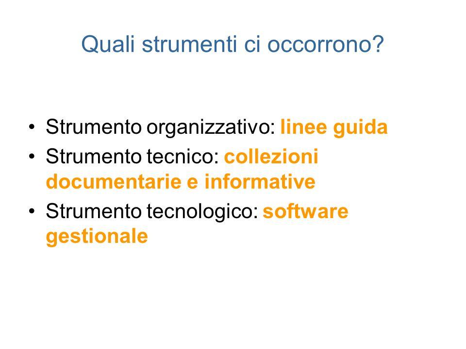 Quali strumenti ci occorrono? Strumento organizzativo: linee guida Strumento tecnico: collezioni documentarie e informative Strumento tecnologico: sof