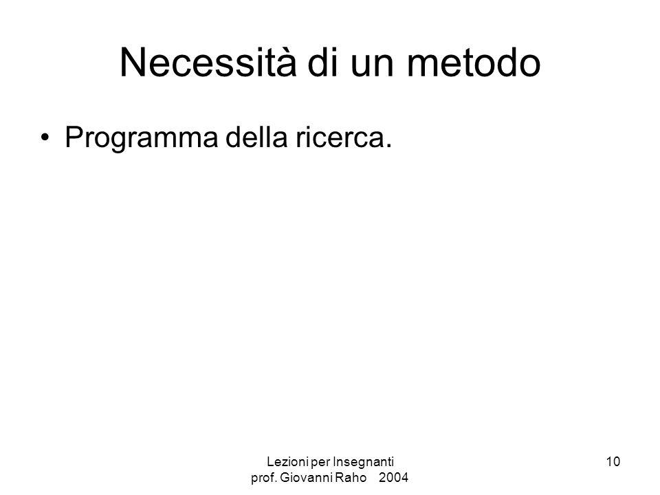 Lezioni per Insegnanti prof. Giovanni Raho 2004 10 Necessità di un metodo Programma della ricerca.