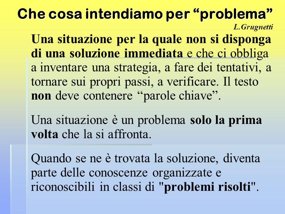Che cosa intendiamo per problema Che cosa intendiamo per problema L.Grugnetti Una situazione per la quale non si disponga di una soluzione immediata e