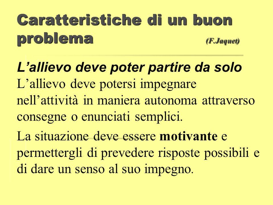 Caratteristiche di un buon problema (F.Jaquet) Lallievo deve poter partire da solo Lallievo deve potersi impegnare nellattività in maniera autonoma at