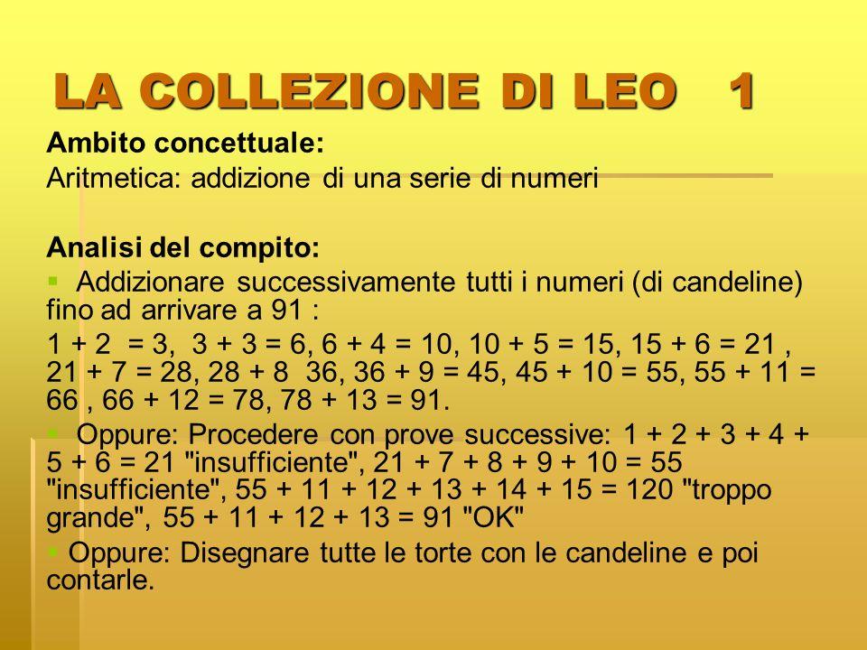 LA COLLEZIONE DI LEO 1 Ambito concettuale: Aritmetica: addizione di una serie di numeri Analisi del compito: Addizionare successivamente tutti i numer