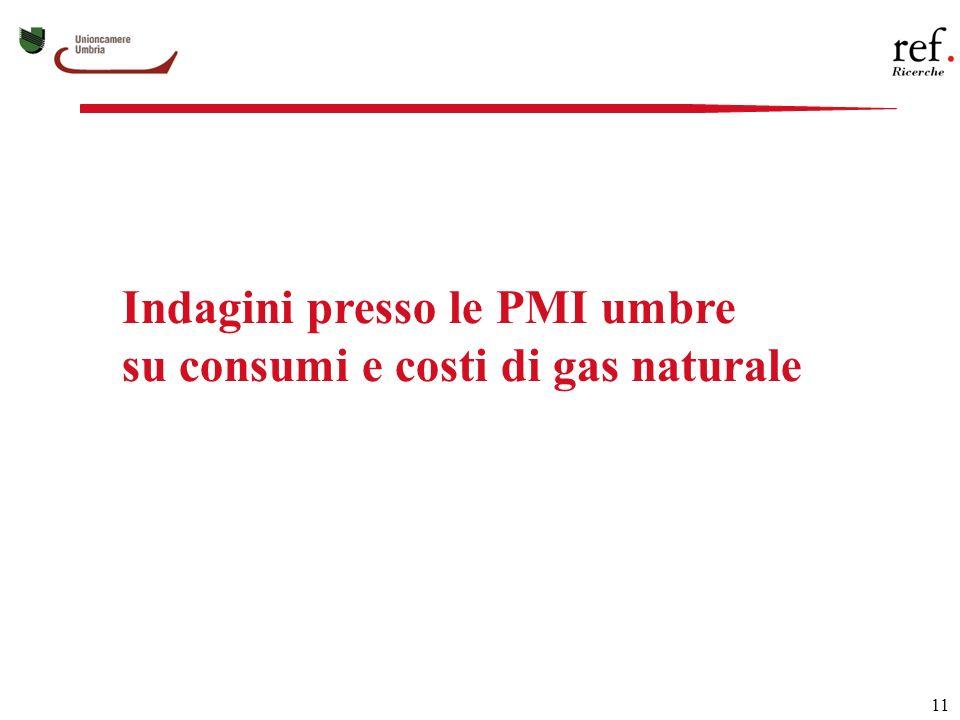 11 Indagini presso le PMI umbre su consumi e costi di gas naturale