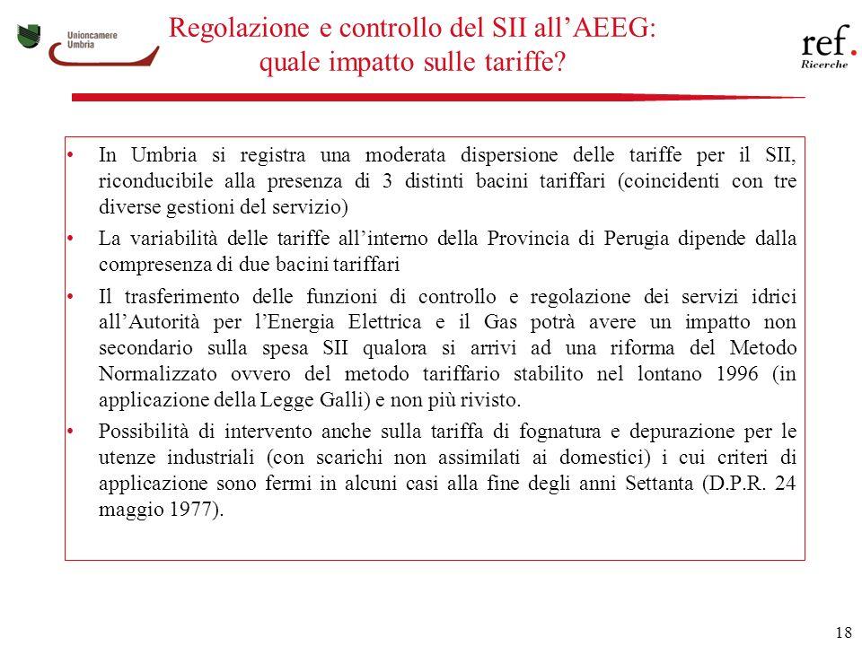 18 Regolazione e controllo del SII allAEEG: quale impatto sulle tariffe.