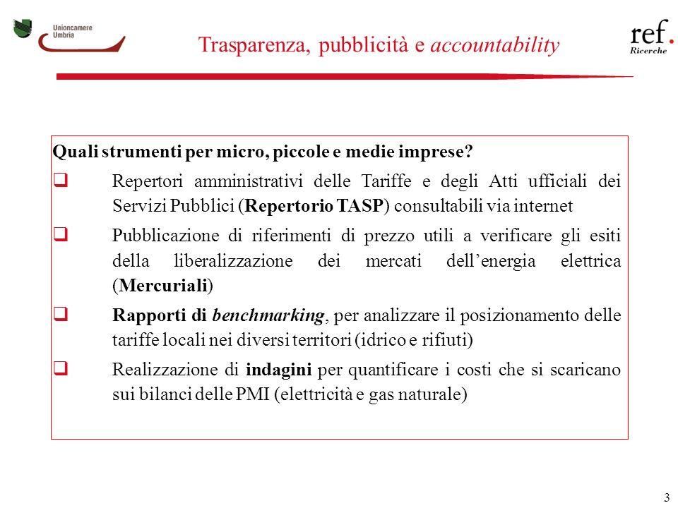 3 Trasparenza, pubblicità e accountability Quali strumenti per micro, piccole e medie imprese.