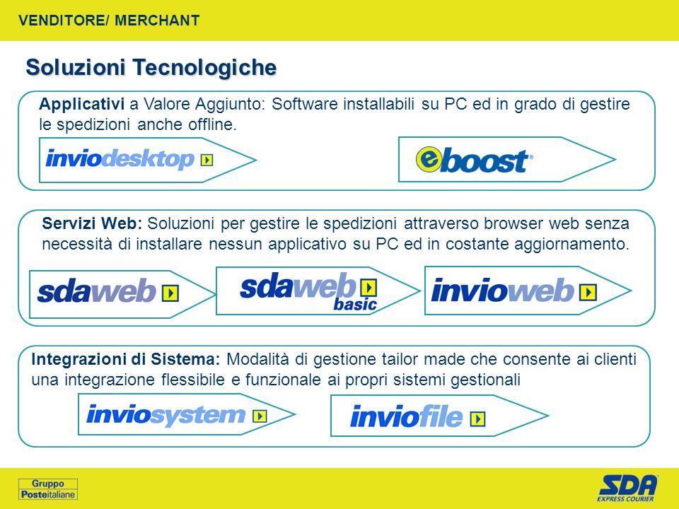 VENDITORE/ MERCHANT Soluzioni Tecnologiche Applicativi a Valore Aggiunto: Software installabili su PC ed in grado di gestire le spedizioni anche offli